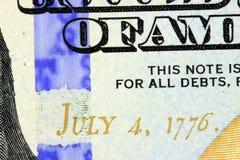 Juli 4th, 1776 på USA-valuta Fotografering för Bildbyråer