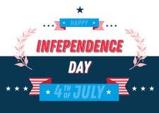 Juli 4th självständighetsdagenbaner typografisk märka sammansättning av 4th av den Juli designen med band För hälsningkort baner vektor illustrationer