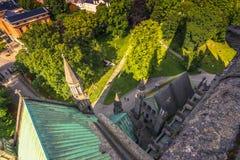 28 juli, 2015: Trondheim van NIdaros-Kathedraal, Noorwegen Stock Foto's