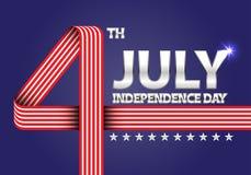 4. Juli Unabhängigkeitstag der USA nummerieren rotes weißes Band auf blauem Feierfeiertags-Hintergrundvektor Lizenzfreie Stockfotos