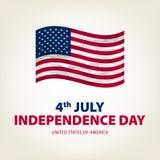4. Juli Unabhängigkeitstag USA Vektor Staaten von Amerika Zeichnung bild graphik karte Amerikanische Flagge Patriotische Fahne Lizenzfreie Stockfotografie