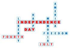 4. Juli Unabhängigkeitstagkreuzworträtsel in der minimalen Art Stockbilder