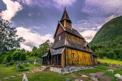 23. Juli 2015: Urnes Stave Church, UNESCO-Standort, in Ornes, Norwegen Stockfoto