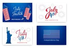 4 juli Vakantiebanners voor de Onafhankelijkheidsdag van de V.S. Reeks moderne kaarten, uitnodigingen, Webbanners voor Four Juli Stock Foto's