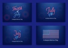 4 juli Vakantiebanners voor de Onafhankelijkheidsdag van de V.S. Reeks moderne kaarten, uitnodigingen, Webbanners voor Four Juli Royalty-vrije Stock Foto's