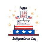 Juli 4 Vektorillustration des Unabhängigkeitstags Karte mit Kuchen lizenzfreie abbildung