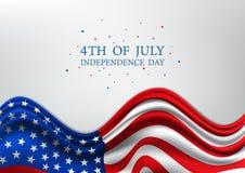Juli 4., vereinigt angegebener Unabhängigkeitstag, amerikanischer Nationaltag auf USA-Flagge, Vektorillustration Stockbilder