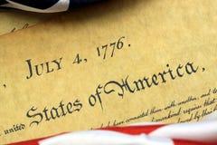 4. Juli 1776 - Verfassungsurkunde Vereinigter Staaten Lizenzfreie Stockbilder