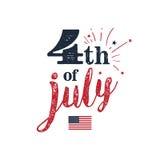 Juli 4 von Juli-Hintergrund 4. der Juli-Typografieillustration Nette Auslegungselemente für Ihre besten kreativen Ideen Stockfotografie
