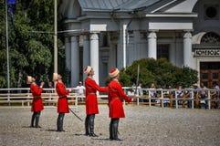 25. Juli 2015 Zeremonielle Darstellung der der Kreml-Reitschule auf VDNH in Moskau Lizenzfreie Stockfotografie