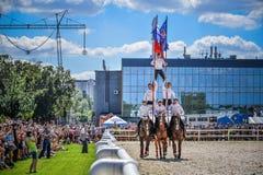 25. Juli 2015 Zeremonielle Darstellung der der Kreml-Reitschule auf VDNH in Moskau Lizenzfreies Stockfoto