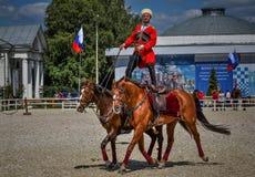 25. Juli 2015 Zeremonielle Darstellung der der Kreml-Reitschule auf VDNH in Moskau Stockfotografie