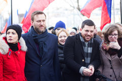Julia and Alexey Navalny, Leonid Volkov on the March in memory of Boris Nemtsov Stock Photos