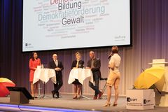 Julia Bauer during talk session with german federal minister dr giffey. Julia Bauer is a German national TV and event presenter. has studied at Munich Business stock images