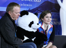 Julia LIPNITSKAIA (RUS) and her second coach Sergei Dudakov Royalty Free Stock Photo