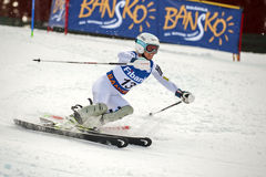 Julia Mancuso. BANSKO, BULGARIA - MARCH  1, 2015: Julia Mancuso (USA) competes in the Audi FIS Alpine Ski World Cup Ladies' alpine combinedon MARCH  1 ,2015 in Royalty Free Stock Photos