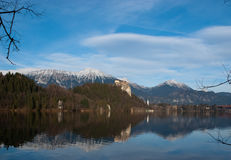Julian Alps from the Bled lake Stock Image