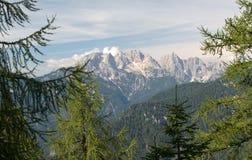Julian Alps from hillside of Kepa in Karawanken mountains Royalty Free Stock Photo