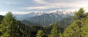 Julian Alps from hillside of Kepa in Karawanken mountains Stock Photos
