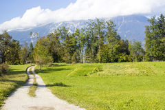 Julian Alps - panorama intorno al lago sanguinato Fotografie Stock