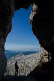 Julian Alps ,Slovenia. Window in the rock massif mountain Prestreljenik in Julian Alps, Slovenia Royalty Free Stock Photo