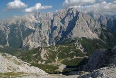 Julian Alps ,Slovenia. Mountain Skrlatica, Prisojnik, Razor and Triglav, from peak Mala Mojstrovka in Julian Alps, Slovenia Royalty Free Stock Photo