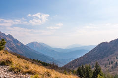 Julian Alps in Slowenia from Monte Chiampon in Italy Stock Photos