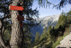 Julian alps - turist directions on the spruce Stock Images