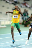 Julian Forte of Jamaica. Sprinting during the 20th World Junior Athletics Championships at the Olympic Stadium on July 13, 2012 in Barcelona, Spain royalty free stock photos