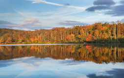 Julian Price Lake North Carolina. Autumn scenery reflecting in Julian Price Lake off the Blue Ridge Parkway in western North Carolina Royalty Free Stock Images