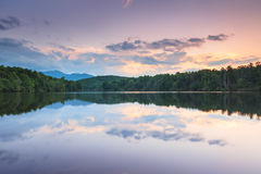 Julian Price Lake Sunset Western North Carolina Fotografering för Bildbyråer