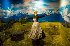 Julie Andrews Wax Sculpture in Madame Tussauds. VIENNA, AUSTRIA - SEPTEMBER 11, 2016 : Detailed waxwork face view of famous Julie Andrews, wax sculpture royalty free stock image