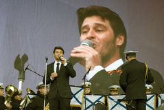 Julien Dassin performs at Victory Day celebration in Moscow Stock Photos
