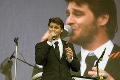 Julien Dassin performs at Victory Day celebration in Moscow Royalty Free Stock Photography