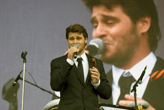 Julien Dassen performs at Victory Day celebration in Moscow Stock Image