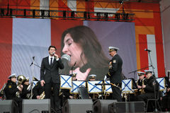 Julien Dassen performs at Victory Day celebration in Moscow Stock Images