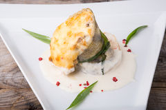 Julienne гриба с белыми рыбами Стоковая Фотография