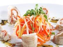 julienne рыб подготовил овощи стоковое изображение