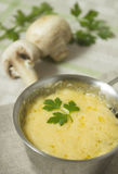 Julienne with mushrooms and parsley. Hot appetizer from champignons with cheese in the cocotte on a gray linen napkin Royalty Free Stock Photos