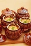 Julienne nel cocotte ceramico Immagine Stock