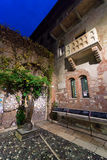 juliet雕象和阳台在维罗纳,意大利 免版税图库摄影