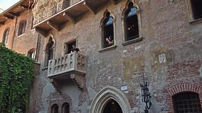 The Juliet`s Balcony in Verona, Italy - 09/03/2017 stock video