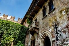 Juliet` s balkon in Verona, Italië Stock Foto
