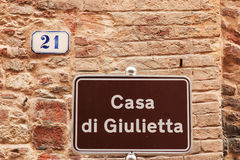 Juliet's house street sign in Verona Royalty Free Stock Photography