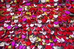 Juliet`s House In Verona, Italy. Many colourful love padlocks at the wall of Juliet`s house, Verona, Italy. romantic pattern.  stock image