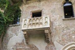 Juliets房子,著名旅游地方阳台在维罗纳 库存照片
