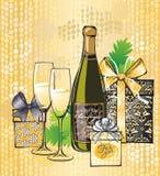 Julillustration av champagne Royaltyfria Bilder