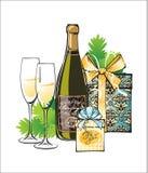 Julillustration av champagne Royaltyfria Foton