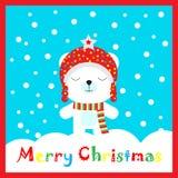 Julillustration med den gulliga björnen på snönedgångbakgrund på den röda ramen som är passande för att hälsa för vykort, för tap Royaltyfri Illustrationer