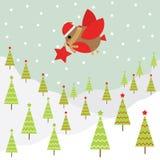 Julillustration med den gulliga fågeln på snöbakgrund som är passande för Xmas-hälsningkort, tapet och vykort Arkivfoto